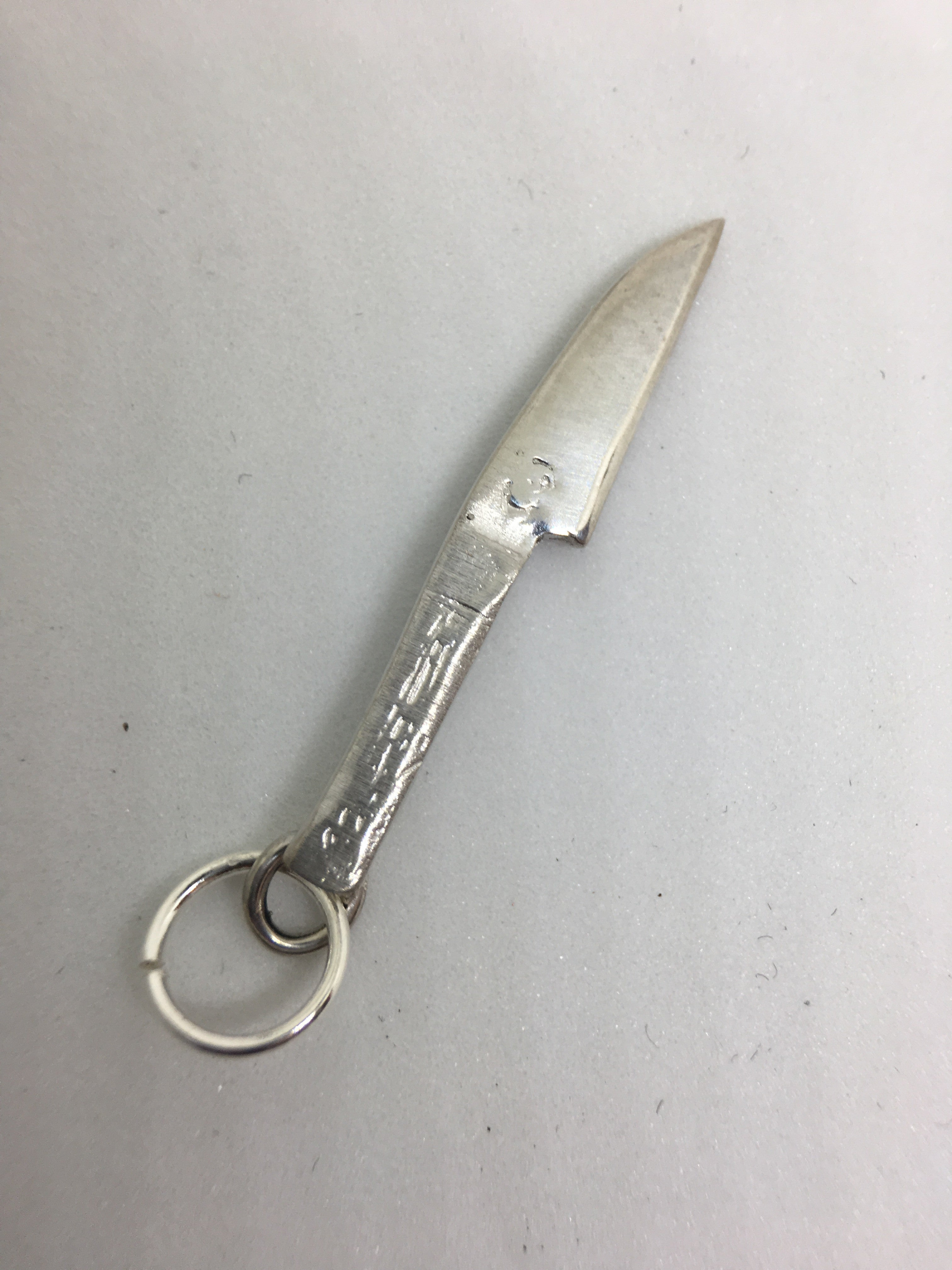 Japanese Sushi Knife Pendant Charm in Sterling Silver