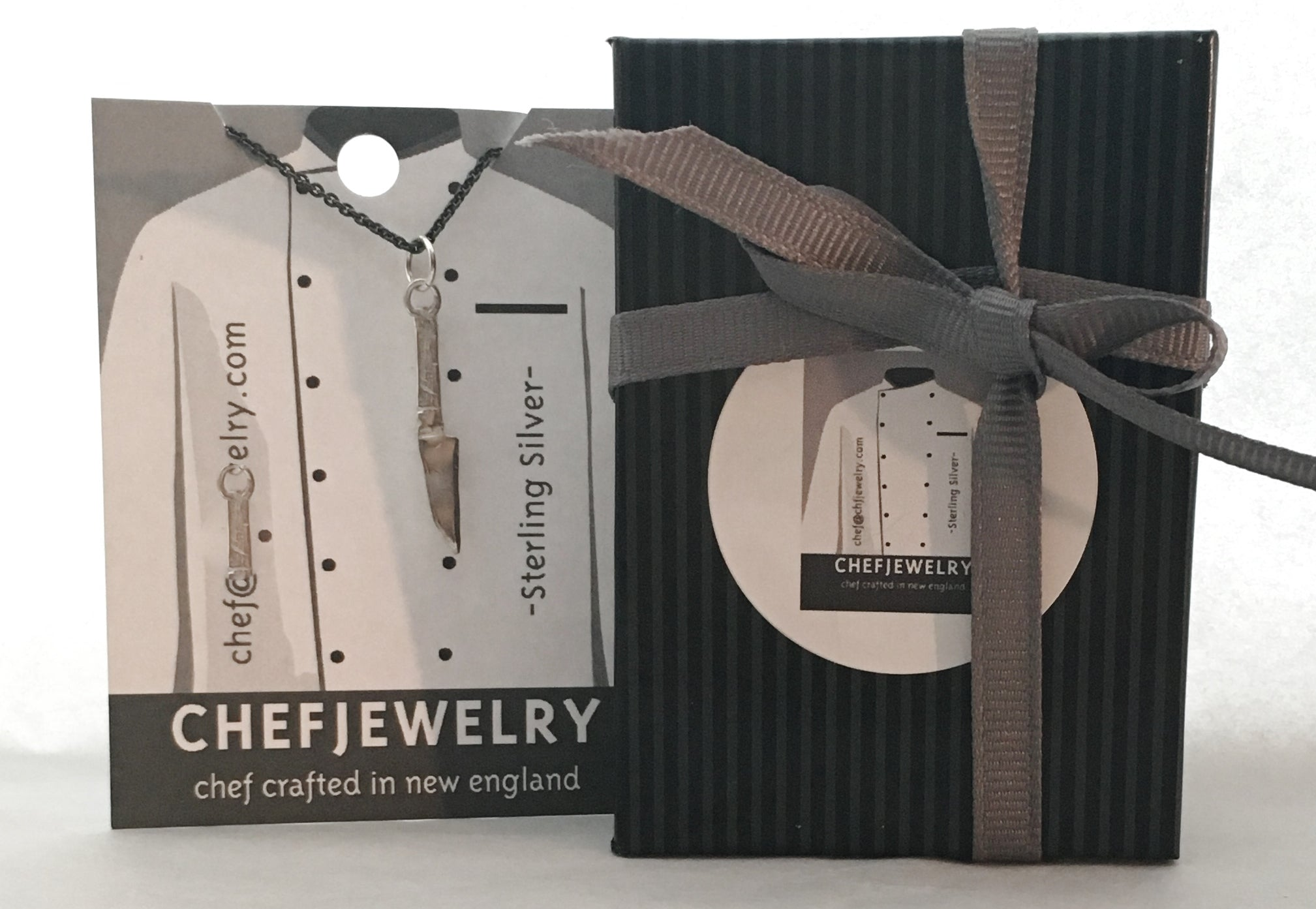 your chefjewelry wil arrive in a ribbon wrapped gift box