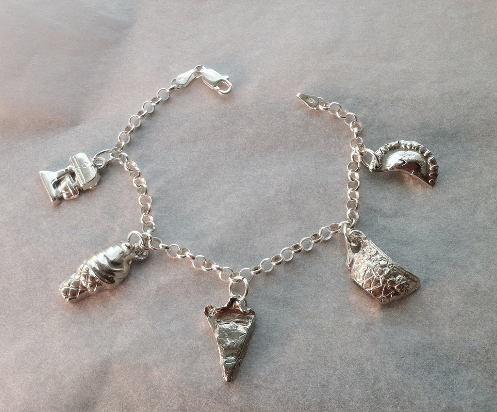 Sterling silver pastry chef charm bracelet