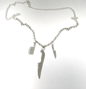 Chef Knife Statement Necklace in Sterling Silver