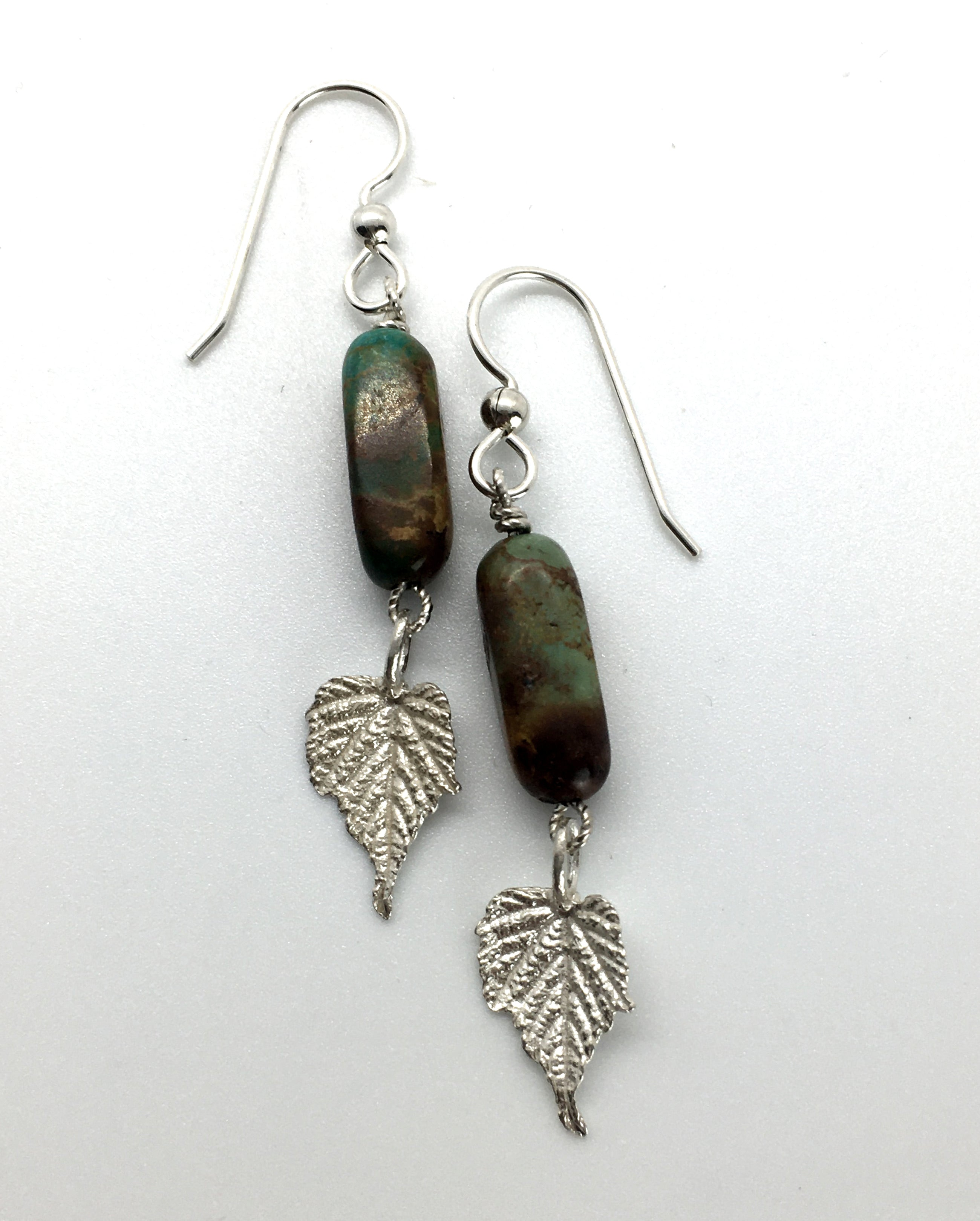 Turquoise Earrings with Sterling Silver Grape Leaves