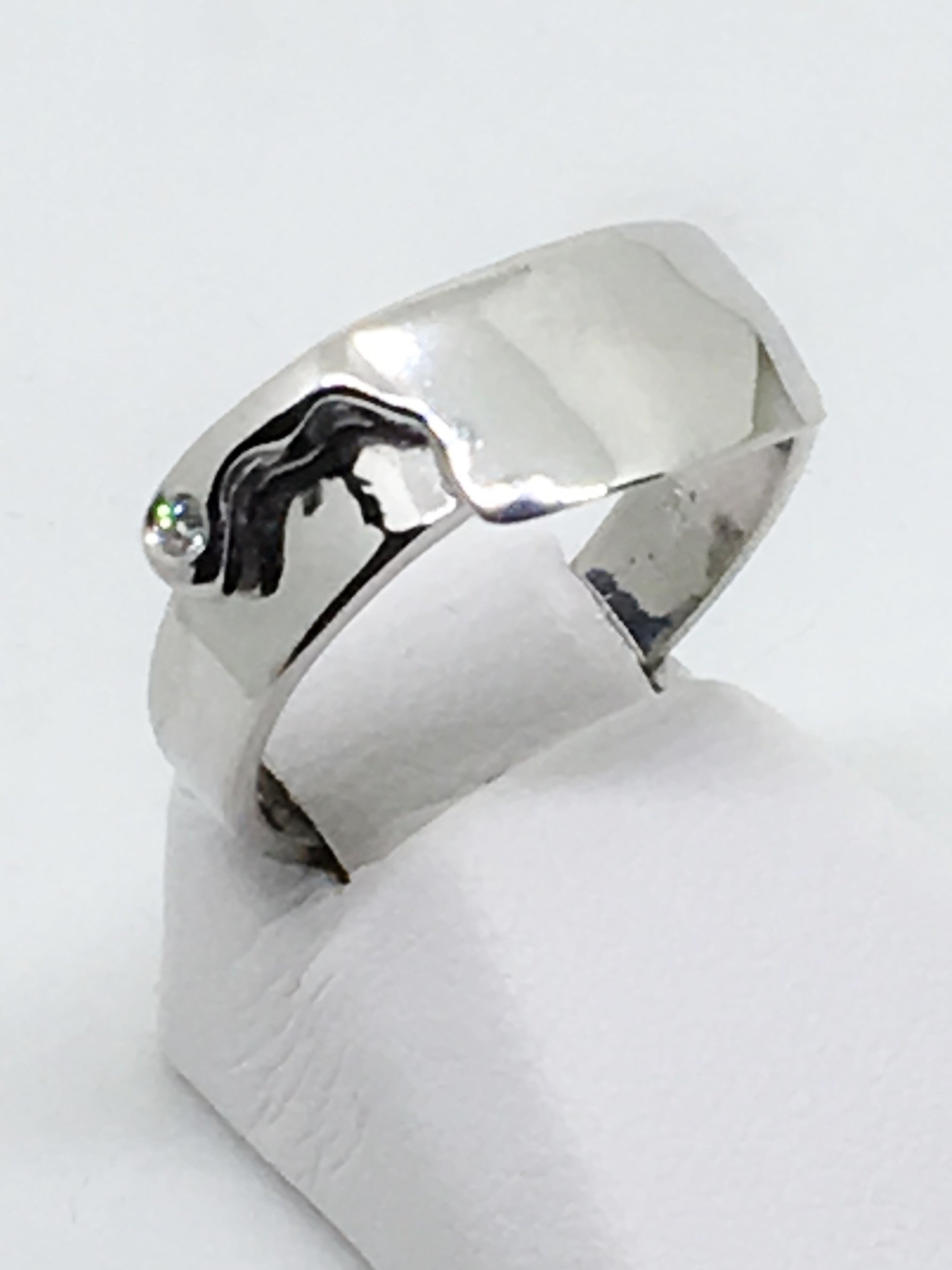 Chef's Cleaver Ring in Sterling Silver with Diamond Accent