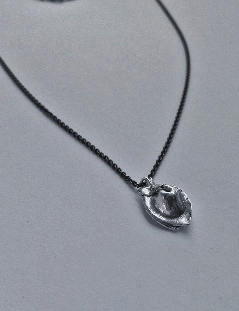 Wonton Dumpling Charm Necklace in Sterling Silver