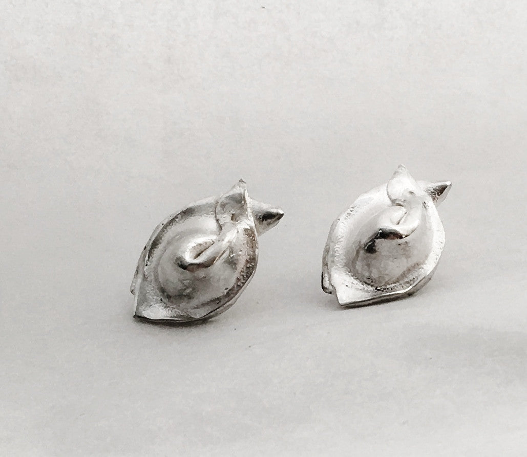 Chinese Wonton Dumpling Stud Earrings in Sterling Silver