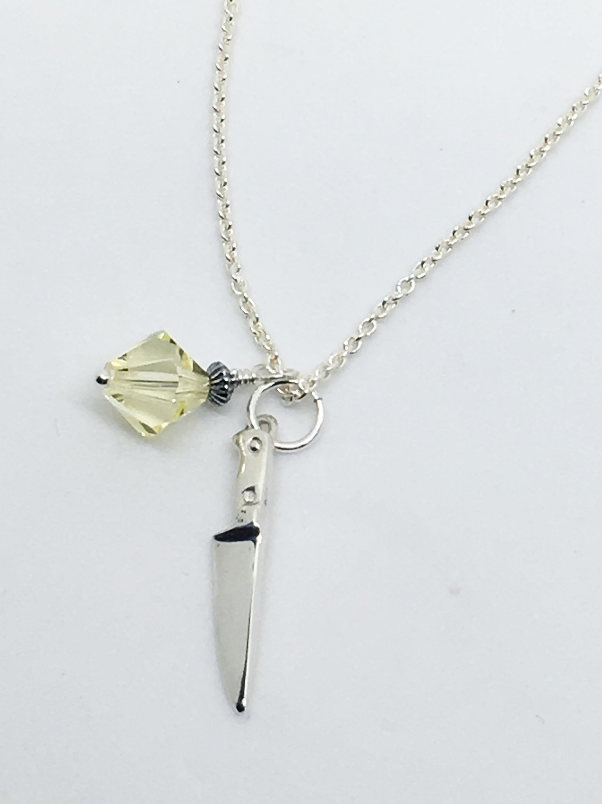 Chef's Knife Pendant Necklace with Yellow Swarovski Crystal Charm