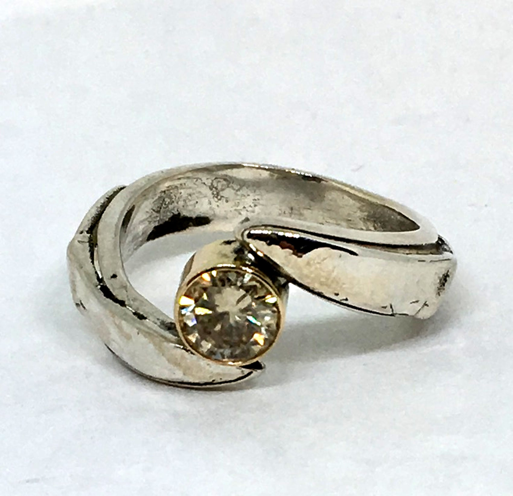 chef engagement ring with yellow moissanite in sterling silver and gold