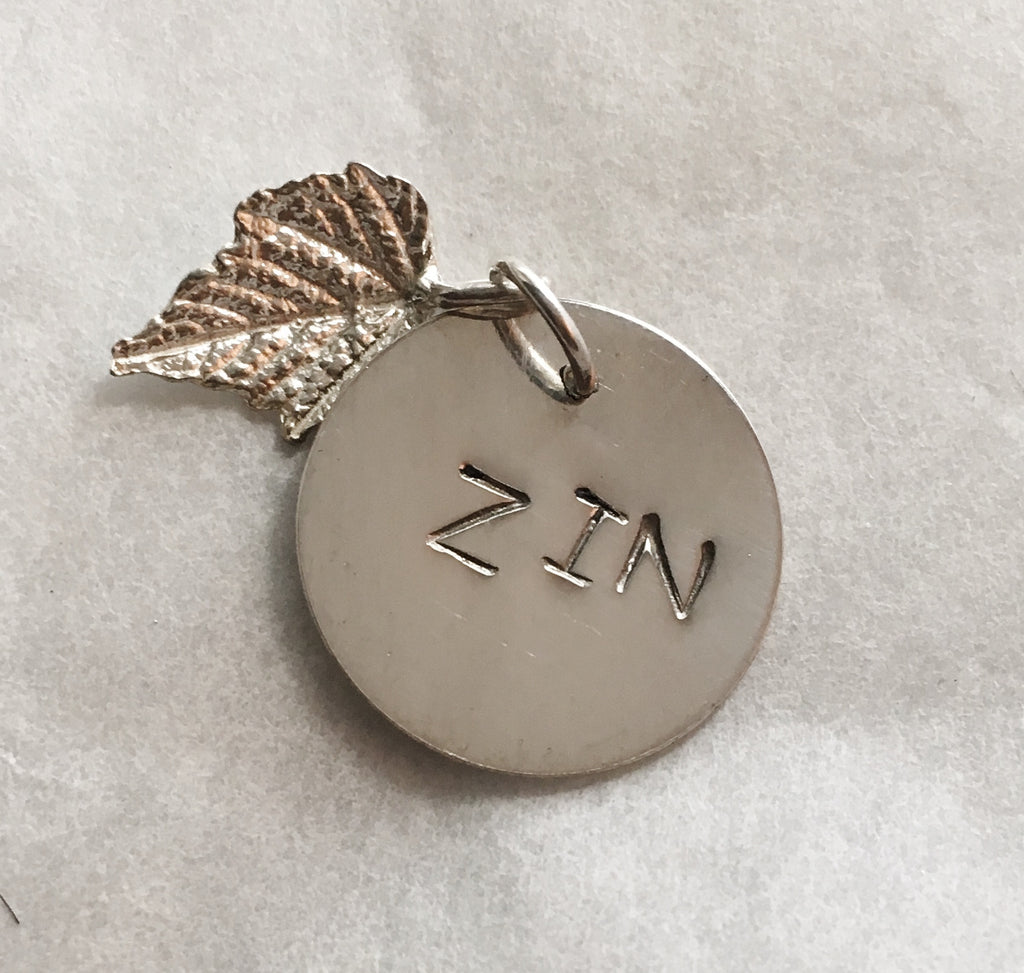Sterling Silver Zinfandel Wine Charm with Grape Leaf
