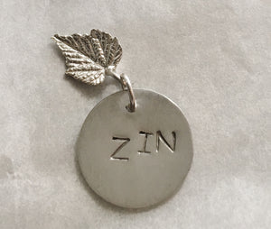 Zinfandel Red Wine Charm in Sterling Silver