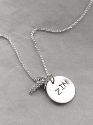 Silver Handstamped Zinfandel Wine Necklace