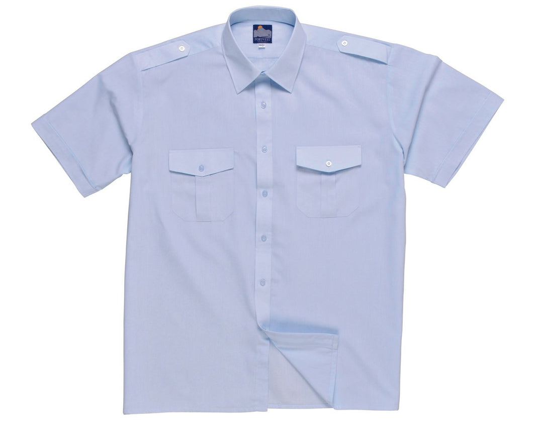 Portwest S101 Short Sleeved Pilot Shirt Blue