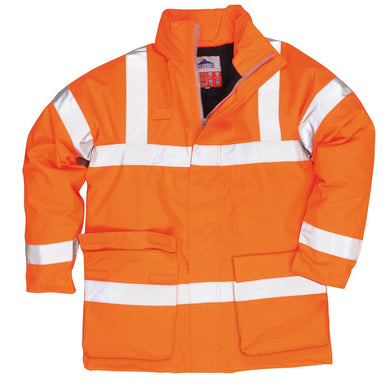 Portwest Bizflame S778 Hi-Vis Antistati Rain Jacket Orange M