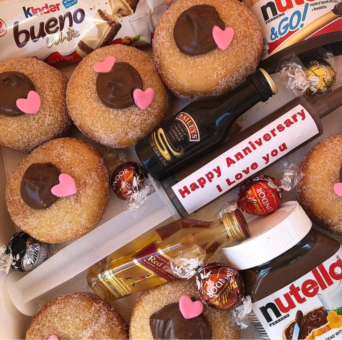 Delivering Donut Bouquets Nutella syringe and Nutella Donut Bouquets Dessert Box