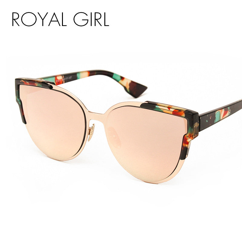 ROYAL GIRL Newest Fashion Cat Eye Sunglasses Women Classic Brand Designer Reflective Mirror Sun Glasses UV400 ss239