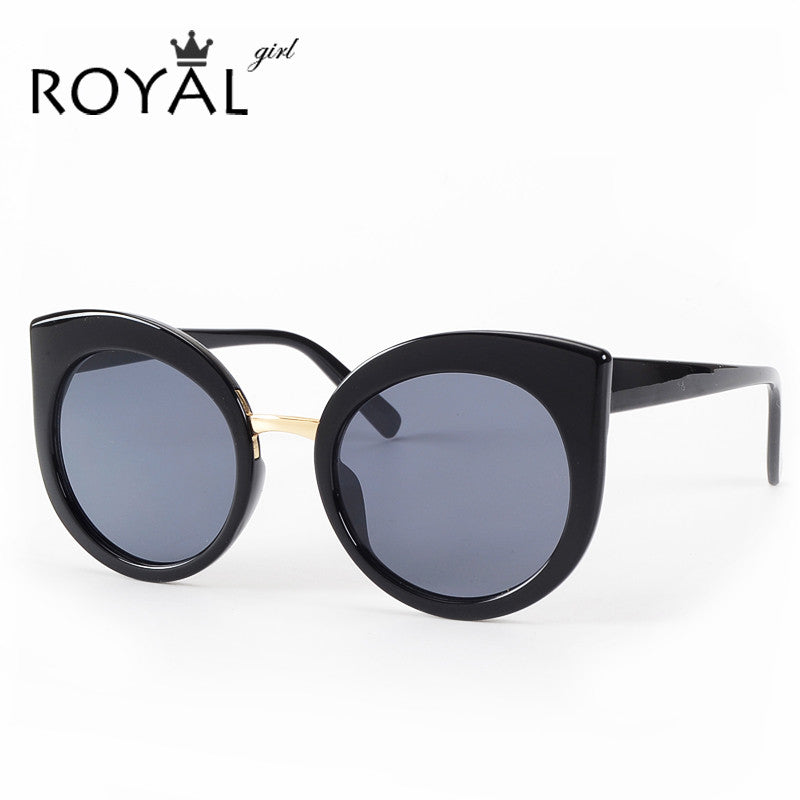 ROYAL GIRL Fashion Women Oversize Cat Eye Glasses Brand Design Vintage Sun glasses Round Coating gafas so real oculos de sol
