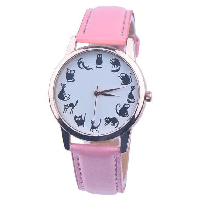 Genvivia New Women's Watch Cartoon kitten watch Leather Band Analog Quartz Vogue Wristwatches Easy To Read relogio feminino#LD