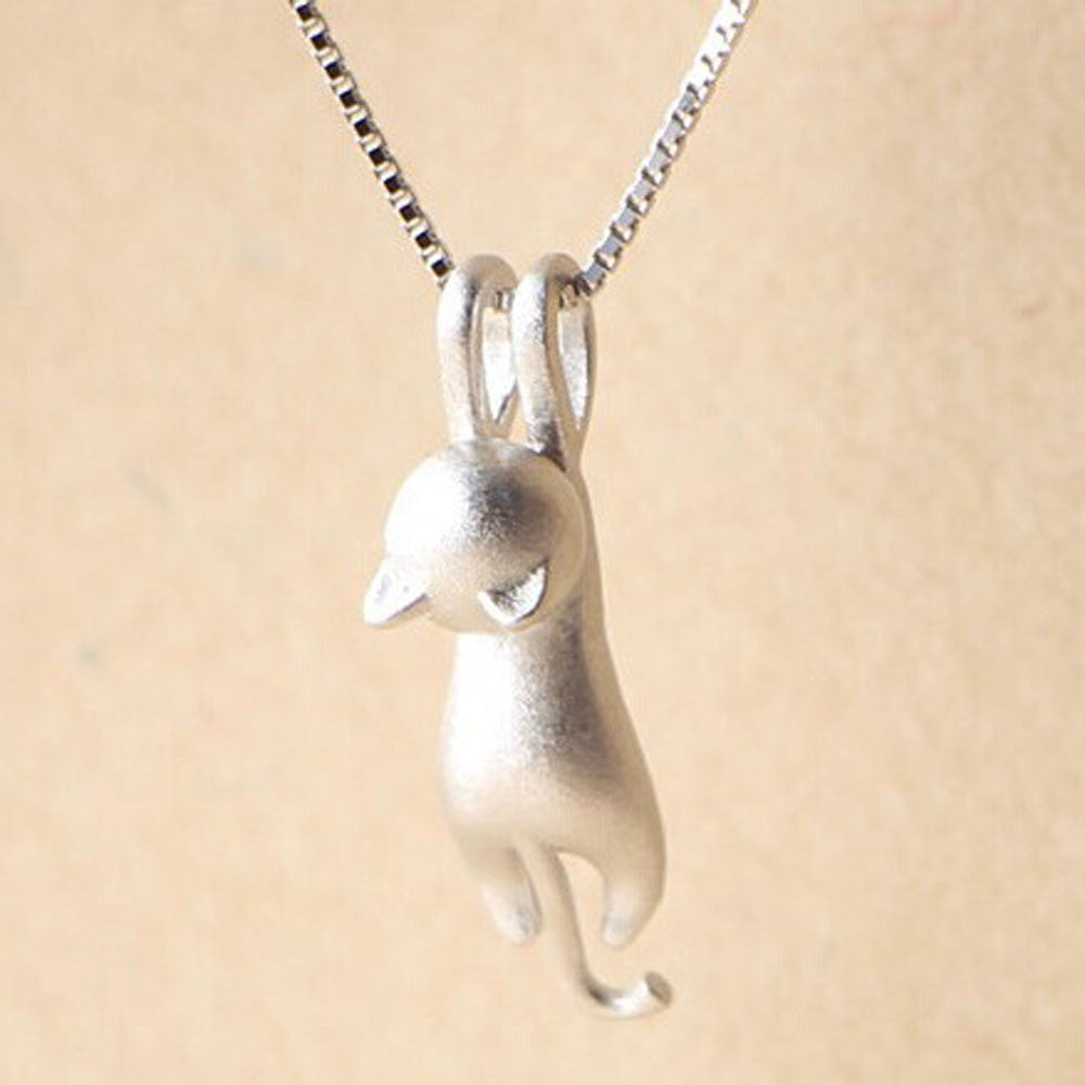 Charm Cute kitty necklace clavicle chain sweater chain New Fashion Women Silver Plated Cat Chain Pendant Necklace Jewelry #GH30