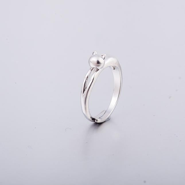 Silver Plated Sweet Cute Cat Kitten Open Ring Cat Kitten Jewelry Ring Original