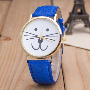 Cat face pattern Leather Band Analog Quartz Vogue Wrist Watches