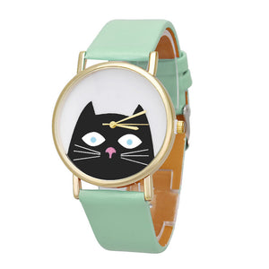 Cat Women Men Leather Band Analog Quartz Dial Wrist Watch