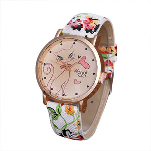 Women Cute Cat Leather Band Analog Quartz Movement Wrist Watch