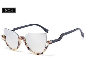 ROYAL GIRL Brand Designer Semi-Rimless Pointed Cat Eye Sunglasses Women vintage Sun glasses Mirror Shadow glasses ss517