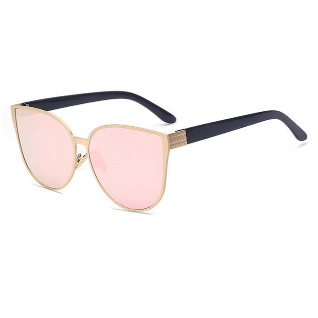 ROYAL GIRL Sunglasses Women Metal Frame Cat Eye Sunglasses Mirror  Oval Lens Brand Designer Fashion Ladies Sunglasses ss705