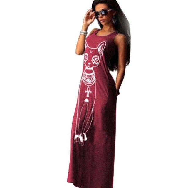 FEITONG Boho Long Dress Women Cute Cat Printed Maxi Dress Casual Sleeveless Long Party Ankle-Length Beach Dresses