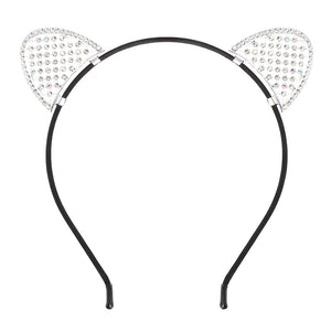 Lovely Rhinestone Cats Ears Headband Cute Hair Hoop Headpiece Hairdress for Party Costume