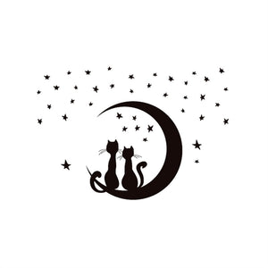 Two Cats Sitting on Moon Enjoying Stars Moonlight Wall Sticker Removable DIY Murals Wall Art Home Decor