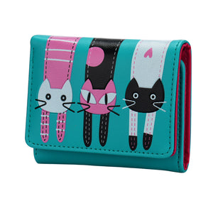 Women Cat Pattern Coin Purse Short Wallet Card Holders Handbag