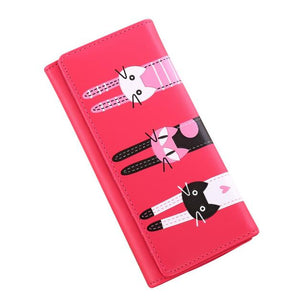 Women Cat Pattern Coin Purse Long Wallet Card Holders Handbag