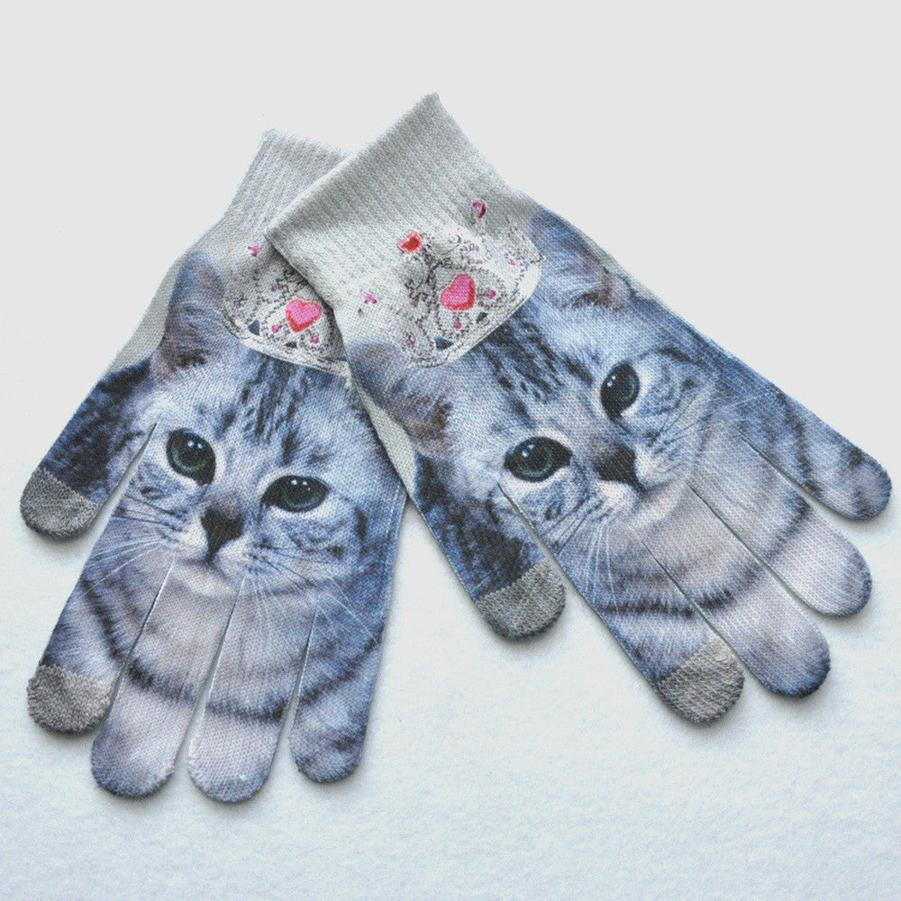 Men Women Winter Warm 3D Print Knitted Phone Screen Kitty Pet Cute Gloves