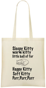 Sleepy Kitty Warm Kitty Tote Bag