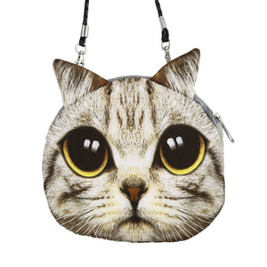 New Cute Women Shoulder Bag Cat Face Cartoon Print Zipper Closure Messenger Clutch Coin Purse Bag