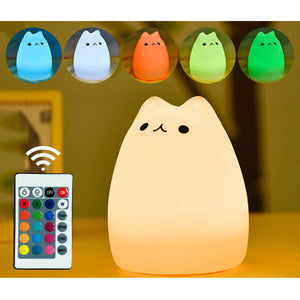 Cute Kitty LED Children Night Light, Portable Silicone LED Night Lamp For Kids, Baby Nursery Lamp + Wireless Remote Control (7-color, USB Rechargeable, Tap Sensitive)