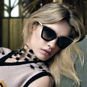 Oversized Sunglasses Vintage Cateye Sun glasses for Ladies Fashion Coating Mirror Glasses Women Cat Eye Retro Big Frame Eyewear