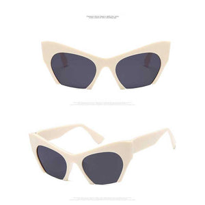 Half Frame Sunglasses Women Flat Cat Eye Glasses Oversized Vintage Sun glasses High Quality Shades Fashion Lady Big Frame Shades
