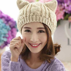 2018 Devil Horns Cat Ears Hat Ladies Beanie Crochet Knit Cap Fashion Autumn Women Knitted Woolen Hats Winter Beanies Warm Caps