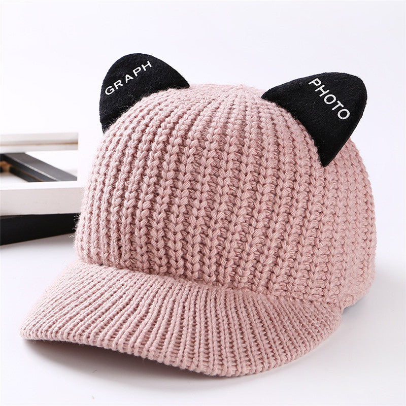 Winter Cap With Visor Cat Baseball Caps Snapback Hip Hop Girl Women Ears Woolen Knitted Hat Adjustable Autumn Crochet Knit Hats