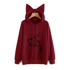 Fashion Women Front Pocket Cat Ear Hoodie Sleeping Letters Printed Pullover Sweatshirt
