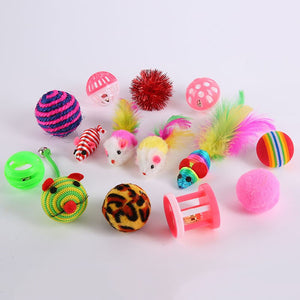 Chic Cat 16 Pcs Toys Sets  Interactive Bells Toys Funny Gift For Kitty Cats