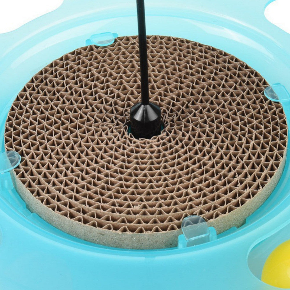 Cat Toy Pet Cat Scratch Made Of Corrugated Paper Puzzle Toy With Track Bell Ball Board Cat Turntable