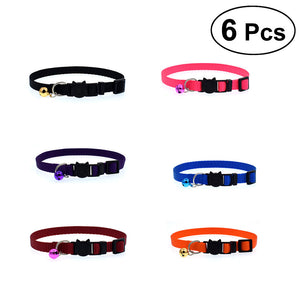 6Pcs Adjustable Pet Collar with Small Bell Personalized Collars for Cat Kitty Kitten Puppy