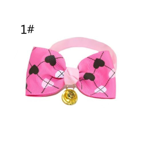 2PCS Chic Style Adjustable Pets Cats Dogs Puppy Kitten Bow Tie with Safety Bell Necktie Collar