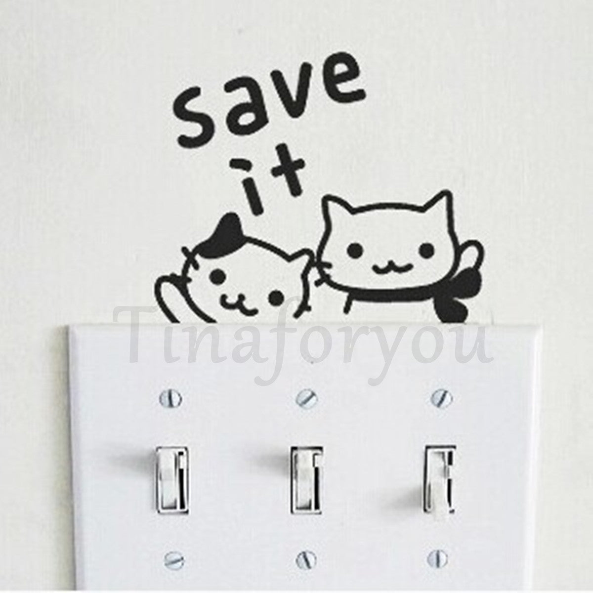 Kitty Cute Cartoon Creative Decorative Conserve Electricity Socket Switch Sticke