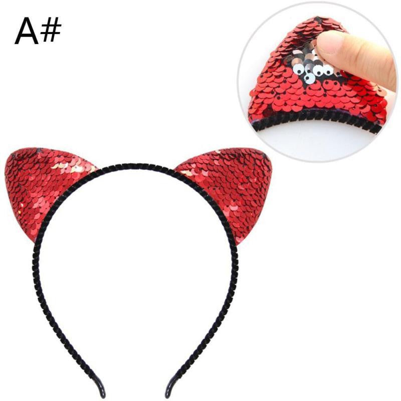 Cute Cat Ear Hair Hoop Mermaid Reversible Sequin Hair Hoop