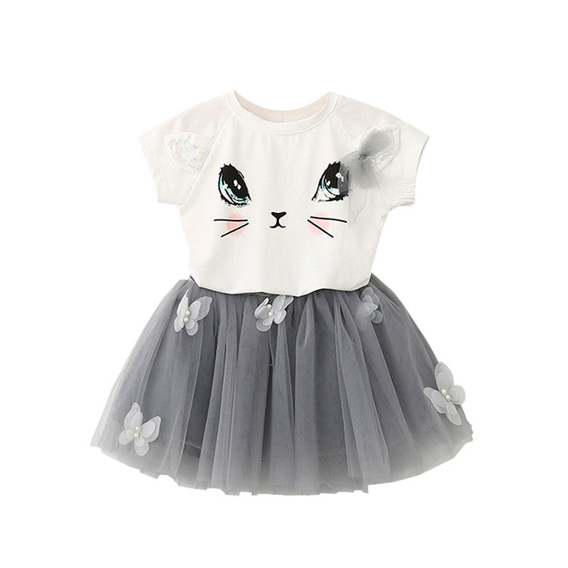Baby Girls Cute Cat T-Shirt + Tutu Skirt
