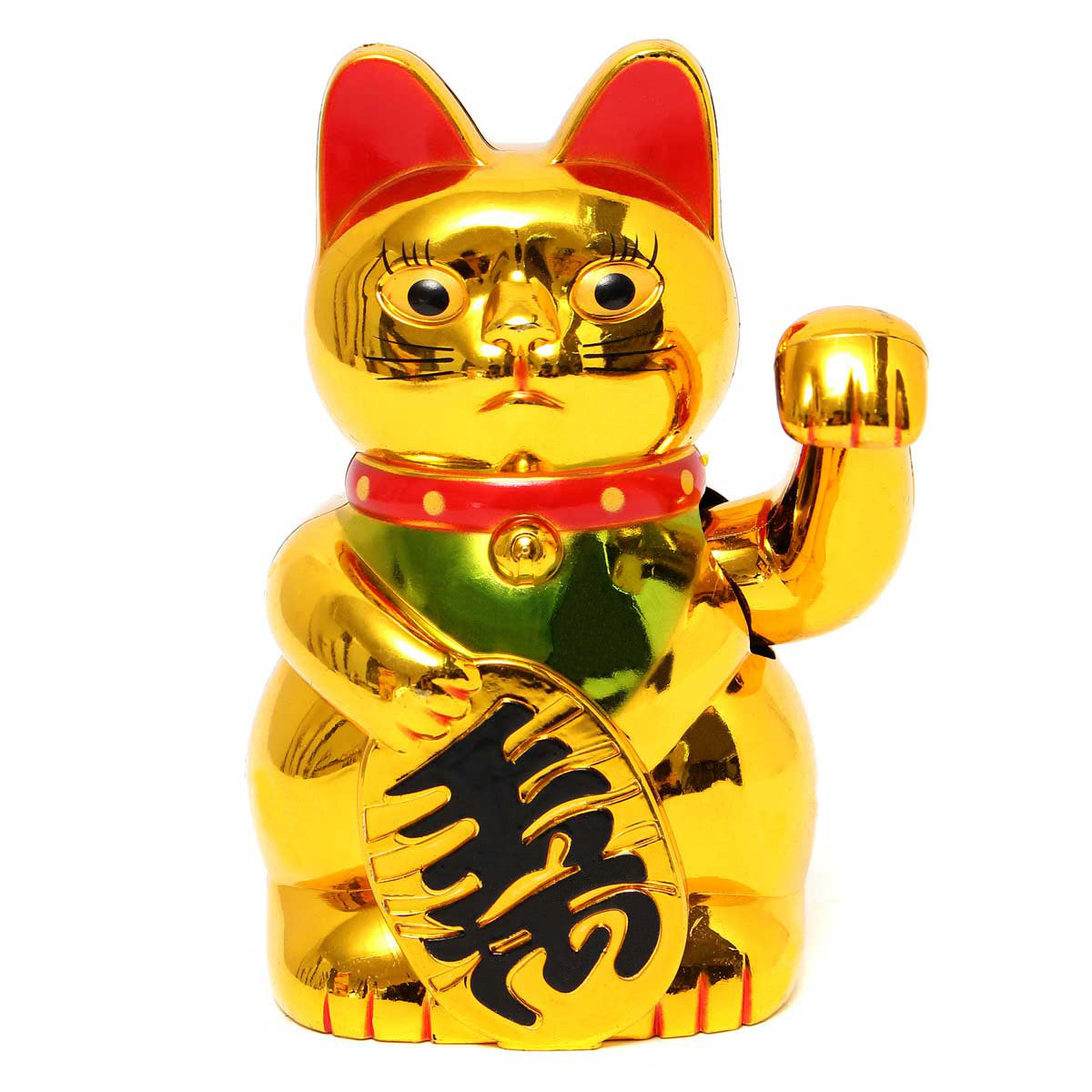 "5"" 13cm Maneki Neko Gold Beckoning Waving Wealth Prosperity Cat Kitty Feng Shui"