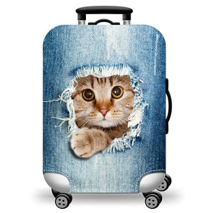 Trunk Cover  Elastic Luggage Cover Cute Cat Printing Super Lightweight Luggage Protector