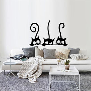 1Pcs Three Kitten Cats DIY PVC Wall Stickers Children Room Wall Art Home Decoration